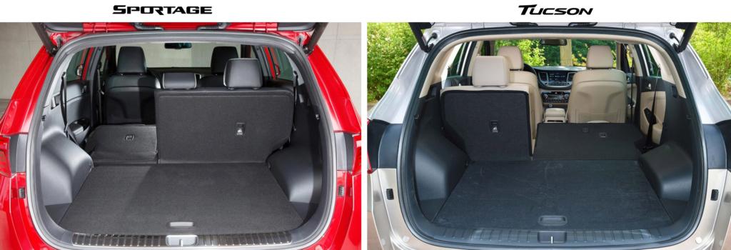 Сравнение Спортейдж 2016 и Туссан 2016 по фотографиям багажника (спинки наполовину разложены)