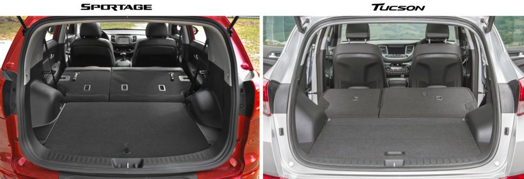 Сравнение Спортейдж 2016 и Туссан 2016 по фотографиям багажника (спинки полностью разложены)