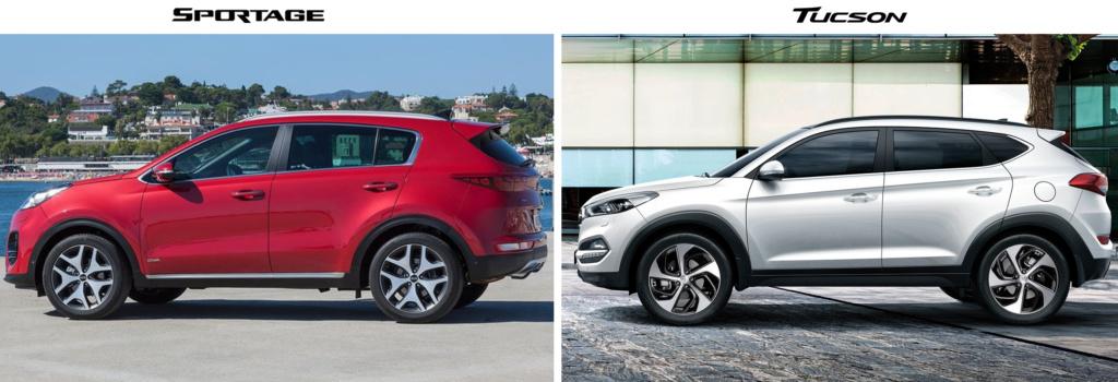 Kia Sportage 2016 vs Hyundai Tucson 2016 вид сбоку