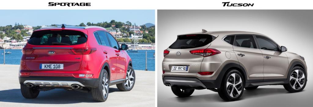 Kia Sportage 2016 vs Hyundai Tucson 2016 вид сзади